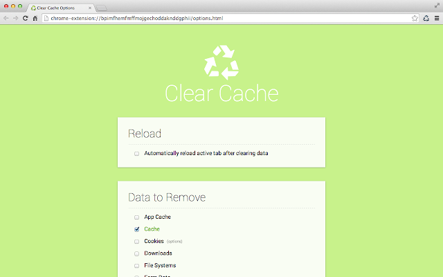 Clear Cache - Extensions